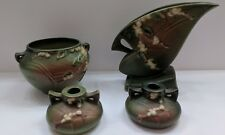 Set of 3 Roseville Pottery Snowberry Green Jardiniere 1J4, 1FH-7 and 1651
