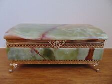 More details for vintage ornate hinged onyx heavy trinket box.