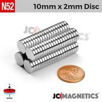 "25 50 100pcs 10mm x 2mm 3/8""x1/16"" N52 Strong Disc Rare Earth Neodymium Magnets"