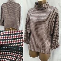 ZARA woman blouse Top Large check plaid red grey high neck 579