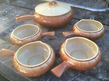 Vintage PEEDEECO Pottery USA Ovenware Pumpkin Shape COVERED BEAN POT & BOWLS