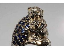 Gold Ring 585 punziert, Affe mit dem Kind mit Brillanten und Saphiren