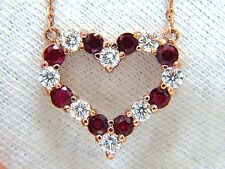 2.58ct natural vivid red ruby diamond heart necklace 14kt