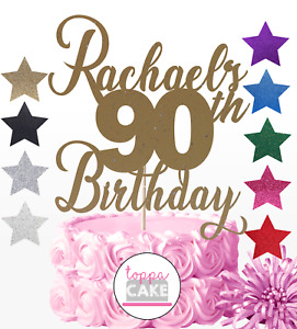 Name Birthday cake topper Personalised Any AGE ANY NAME NINETIETH 90th