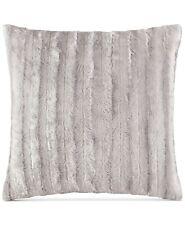 "Madison Park 20"" Square Decorative Pillow Duke Ribbed Faux Fur GREY A9Z311"