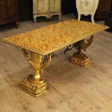 TABLE BASSE TABLE EN BOIS VERNI FAUX MARBRE DECORS ITALIE D'ÉPOQUE '900