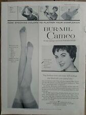 1954 Mujer Bur-Mil Camafeo las Medias Piernas Elizabeth Taylor Vintage Anuncio