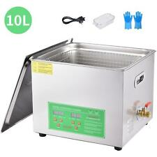10l Ultrasonic Cleaning Basket Stainless Steel Cleaner Sigital Timer Heat Contro