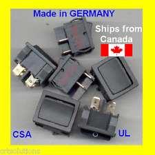 5pk Rocker DPST ON OFF 10A 125V (6A 250V) Quality Switch Made In GERMANY Snap-In