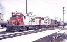 Soo Line GP30 diesel locomotive train railroad postcard