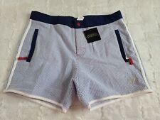 Andrew Christian Shorts Mens Size 32 Blue White Stripe Swim Trunks Neon Walking