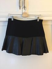 Zara Woman Black Faux Leather Trim Slim Fit High Rise Mini A line Skirt Medium