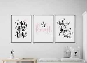 Set of 3 Princess Dream Fairytale Pink Black Prints Nursery Girls Room Wall Art