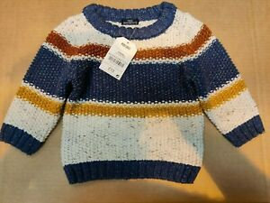 NEXT -Cream Striped Knitted Jumper - 3-6 Months - Tag £13 - (K10)