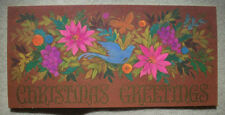 Blue bird in flowers Hallmark Vintage Christmas Greeting Card *P