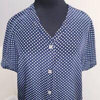 Vintage Womens Navy Silk Short Sleeve Top Blouse Size 12 or L Polka Dot V Neck