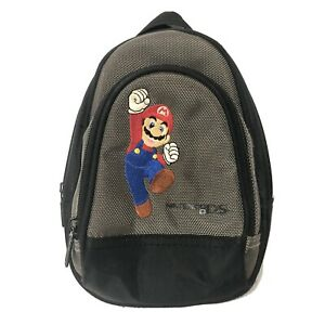 Nintendo DS Mario Carrying Case Backpack Bag Grey Pockets Storage Good Condition