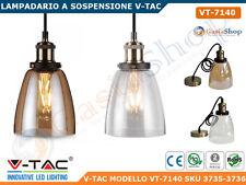 V-TAC VT-7140 LAMPADARIO IN VETRO CON PORTALAMPADA PER LAMPADINE E27