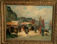 "Eugene Demester Oil on canvas Harbor and Fish-market View, 15.5 x 18.5""."