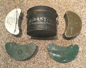 5 Vintage Old Fishing Bait Container Tins Leurre Midget No. 2 Falls City Old Pal