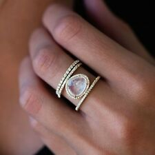 18K Gold Plated Women Men Fashion Jewelry Moonstone Wedding Proposal Ring Size 8