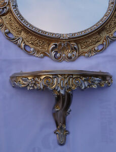 Wall Mirror + Console Gold Silver Oval Set 44x38cm Bracket Baroque Antique 345