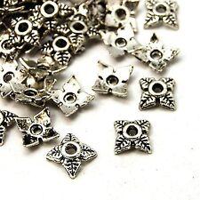 100 perles coupelles caps fleur feuille plaqué argent 6 x 6 mm NEUF