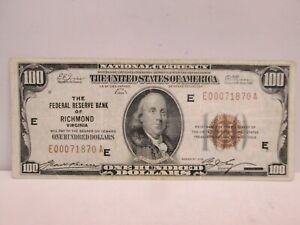 1929 US $100 FRB OF RICHMOND VA NATIONAL BANKNOTE