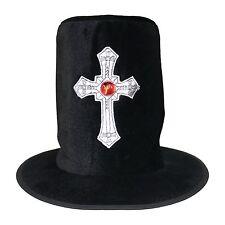 Terciopelo Negro Halloween Gótico Gravedigger servicios funerarios Silver Cross Top Hat