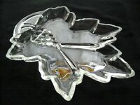 "Tiara Indiana Glass Clear Leaf Shaped Divided Relish 12"" Tray Platter"