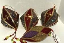 4 Vintage J. C. Penny Red Velvet Beaded W/ Trim Christmas Ornament Set