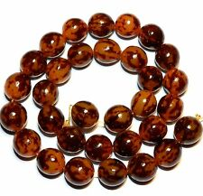 """NG1770f Tiger Gold Buri Nut 10-12mm Hand-Carved Smooth Round Wood Beads 15"""""""