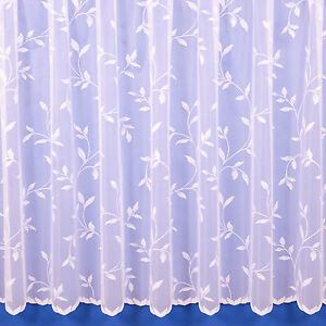 Amy Floral Net Curtain In White - Sold By The Metre - Free Postage