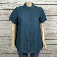 Woman Within Button Front Blouse Shirt Top 18W 20W Large PLUS Dark Teal Green