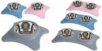 2 Dogi Stainless Steel Metal Food & Water Bowls With PVC Raised Holder Non-Slip
