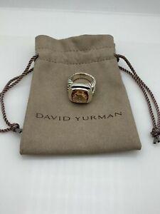 David Yurman Sterling Silver Albion 14mm Morganite Ring Size 8