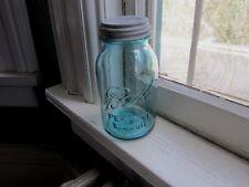 Antique Ball Perfect Mason Aqua Glass Quart Fruit Jar and Zinc Lid, 1923-1933