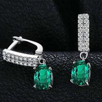 4Ct Oval Cut Green Emerald Diamond Drop & Dangle Earrings 14K White Gold Finish