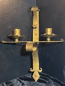 Vintage Spanish Brutalist Large Torch Wall Sconce in Gilt Wrought Iron