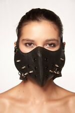 Black Faux Leather Mouth Face Cover with Spikes Rocker Steam Punk Hannibal Mask