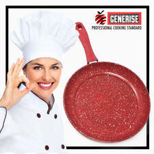 24cm Marble Coated Non Stick Red Frying Pan Forged Cooking Frypan Cook Grill
