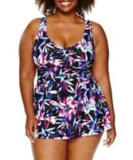Le Cove Swim Dress Size 16W PLUS Floral Lilac Purple Black $104 New