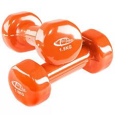 2 x 1,5 kg Vinyl Coated Dumbbells Set Aerobics Weights Training Fitness Ladies