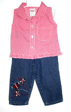 Snugabye Basic Girls Size 12 Mth Two Piece Embroidered Jeans Red White Blouse