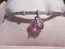 Judith Ripka Pink Heart STERLING Silver Charm Textured Bangle Bracelet, NIB