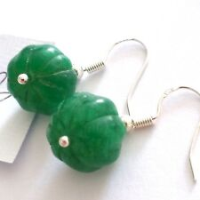 Lovely Pair of 925 Silver Natural Green Emerald Earrings, (A3)