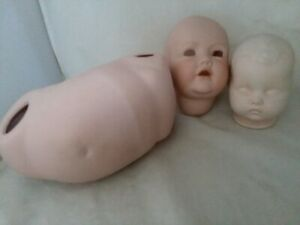 New Ceramic Doll Body R B 8 Inch 2 Heads 1 is not marked 1 marked Germany JDK