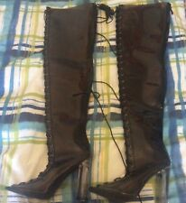 Cape Robbin Thigh High Black Corset Lace Up Boots W/ Acrylic Heels Size 6 NWOB