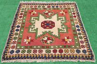 Turkish Rug 57''x56'' Handwoven Kars Vintage Carpet 146x143cm Square Area Rug