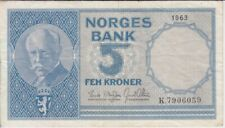 Norway banknote P30b-6059 5 Kroner 1963 pfx K,  VF   We Combine